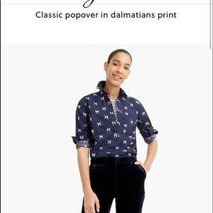 NET JCrew classic popover Dalmation print SZ 8